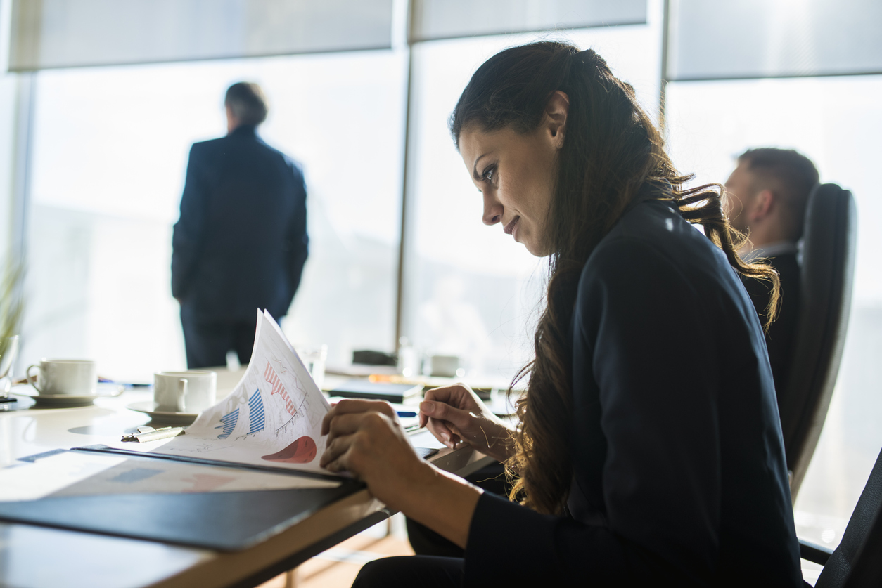 Businesswoman preparing for a meeting